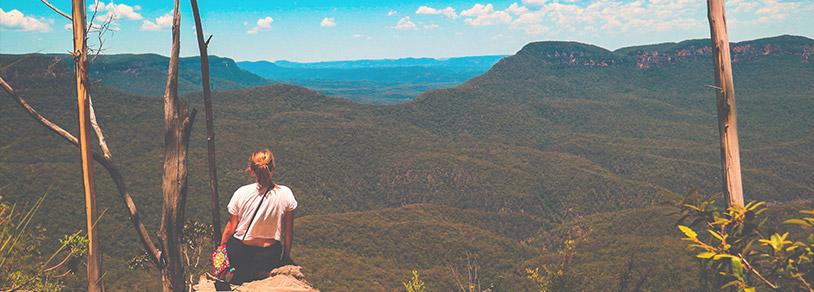 Blue Mountains girl sitting on rock