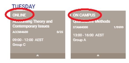 KHUB T2 2020 timetable example