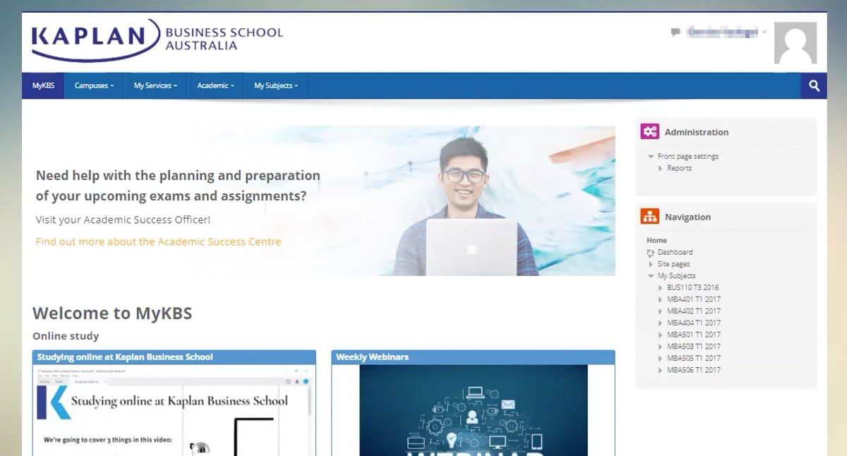 Online Study home page